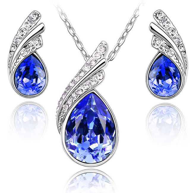 Fashion Austria Crystal Water drop leaves Earrings necklace jewelry sets Classic Wedding Dress B9 5