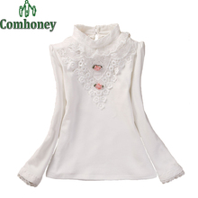 Children Lace Bottoming Shirts Kids Blouse For Girls Long Sleeve Base Shirt With Flowers Baby Girls Soild Korean Backing Shirt(China (Mainland))