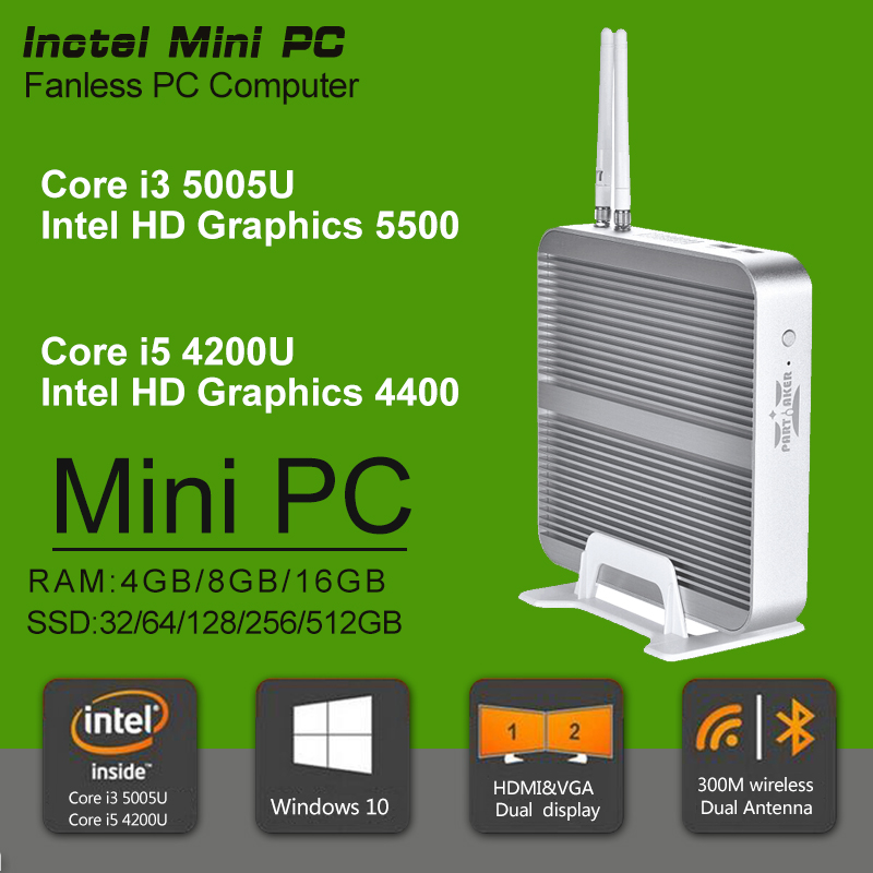Fanless Barebone i3 i5 Mini PC Win10 3 Years Warranty Nuc Computer Intel Core i5 4200U