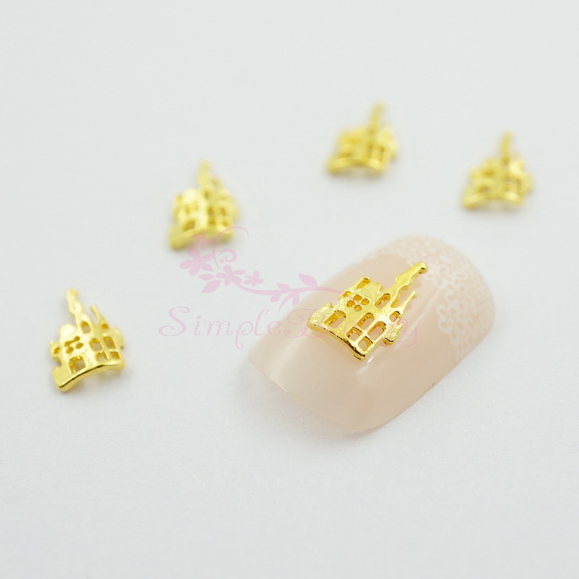 100PCS/LOT Halloween Hollow House Gold Plated Alloy Charms Handcrafts Jewelry Making 3D Nail Art DIY Design Decorations Supplies(China (Mainland))