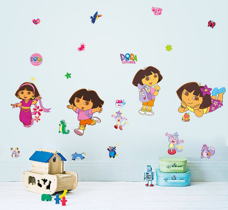 30*90cm I Love Adventure Dora The Explorer vinyl wall decals mural stickers for kids rooms girls rooms(China (Mainland))