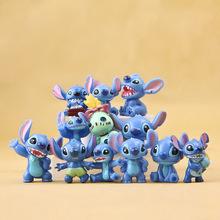 12pcs Anime Stitch Cartoon Stitch Mini PVC Action Figure Toys Dolls Brinquedos Best Gift Juguetes