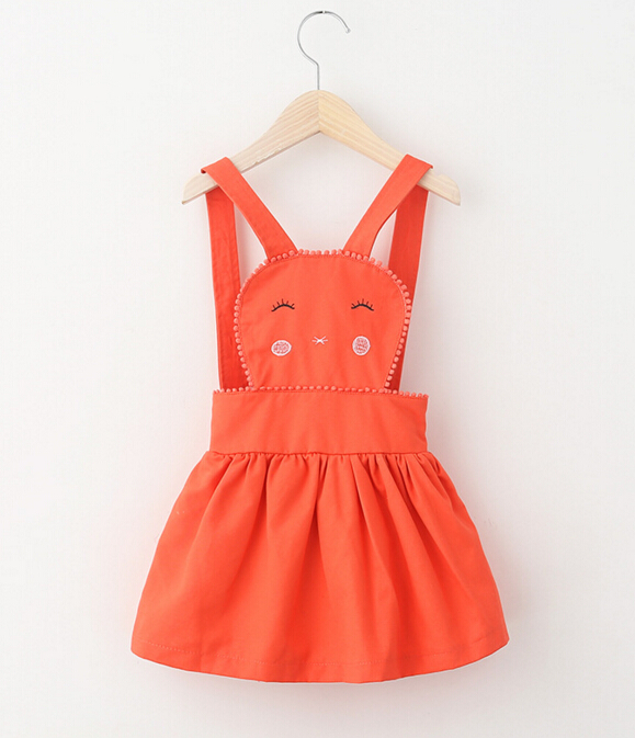2-8T Childrens Girls braces dress princess all cotton embroidery rabbit Overalls Dresses Brand wholesale 2016 new<br><br>Aliexpress