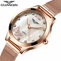 2017 GUANQIN Quartz Watch Luxury Watches Women Dress Gold Mesh Band Steel Bracele Women Fashion Clock