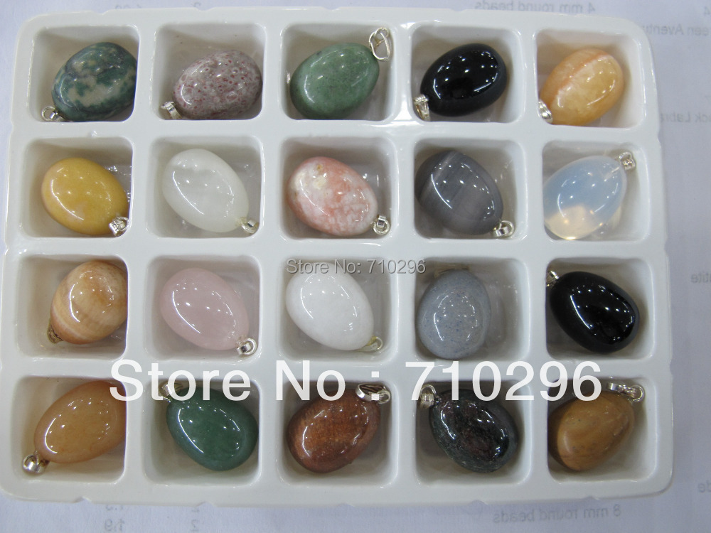 Natural stone eggs pendants wholesale lot mixed agate sodalite rose quartz crystal Multi stone fit genuine stone necklace(China (Mainland))
