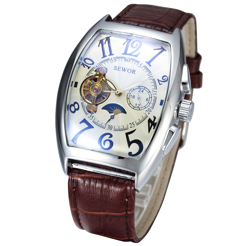 SEWOR Brand Clock Classic Leather Montre Homme Steampunk Mechanical Man Watch Fashion Mechanical Hand WindWristwatches   <br><br>Aliexpress