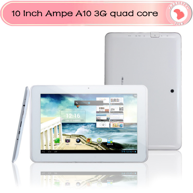 """10 Inch Ampe A10 quad core 3G phone tablet 10"""" IPS screen Qualcomm Quad Core Android 4.1 with sim slot Bluetooth dual camera(China (Mainland))"""