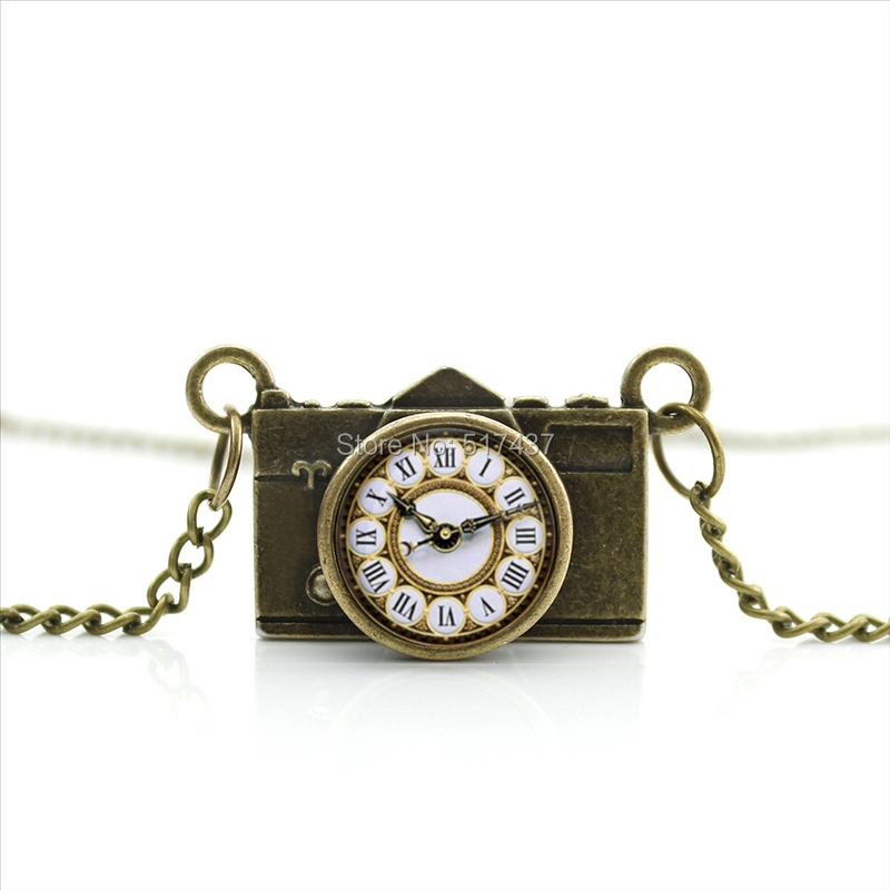 New Arrived DIY Clocks Table Camera Necklace Steampunk Clock Jewelry Antique Camera Pendant CA--0151(China (Mainland))