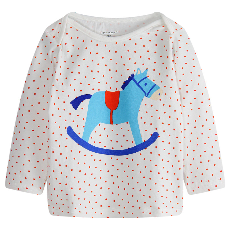 18M-6Y Baby Boys tshirts Dotted horse Cotton Graphic Tee Kids Casual Longleeve Toddle Children roupa infantil gaps Autumn Spring(China (Mainland))