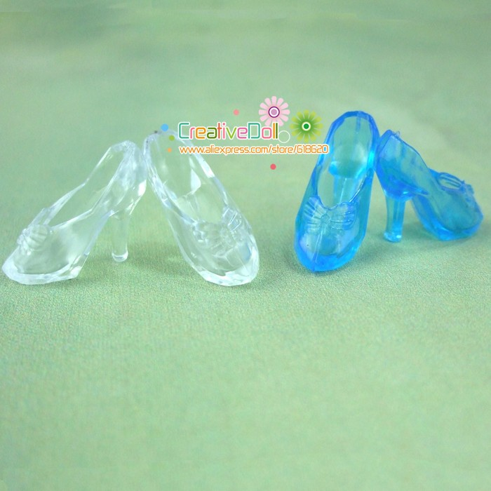 10 Pairs Imitation Fairy Story Crystal Footwear For CINDERELLA Trend Princess Doll Footwear Heels Sandals For Barbie Dolls