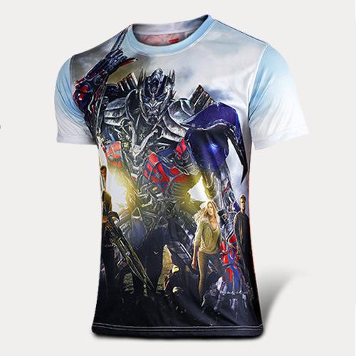 2015 Hot Sale The Transformers costume adult Marvel t-shirt men boys short superhero t-shirt Halloween costume(China (Mainland))