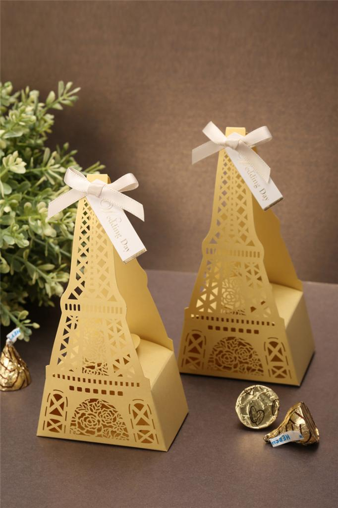 Wholesale 10PCs Classic Eiffel Tower Shaped Wedding Candy Favor Boxes Wedding Party Favors In