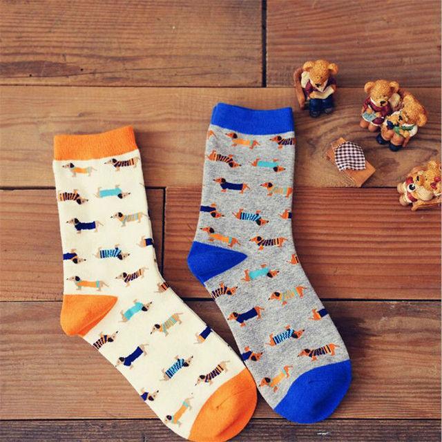 2015 новый Caramella новинка нейтральной собака носки женщины и мужчины мультфильм хаски такса долго носок пара хлопок искусство носки для любителей