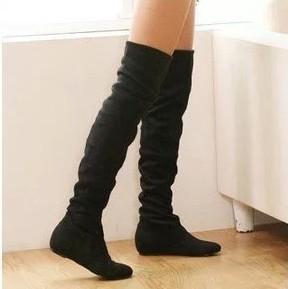 Женщин-сапоги зима весна дамы мода плоское дно сапоги на протяжении высокие ноги ...