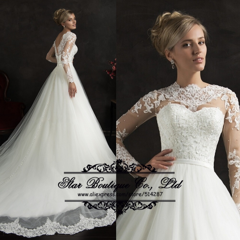 2015 Fashionable High Neck Full Sleeves Lace Appliques Edge Long A Line Tulle Wedding Dresses Bridal Gowns Vestidos De Noiva(China (Mainland))