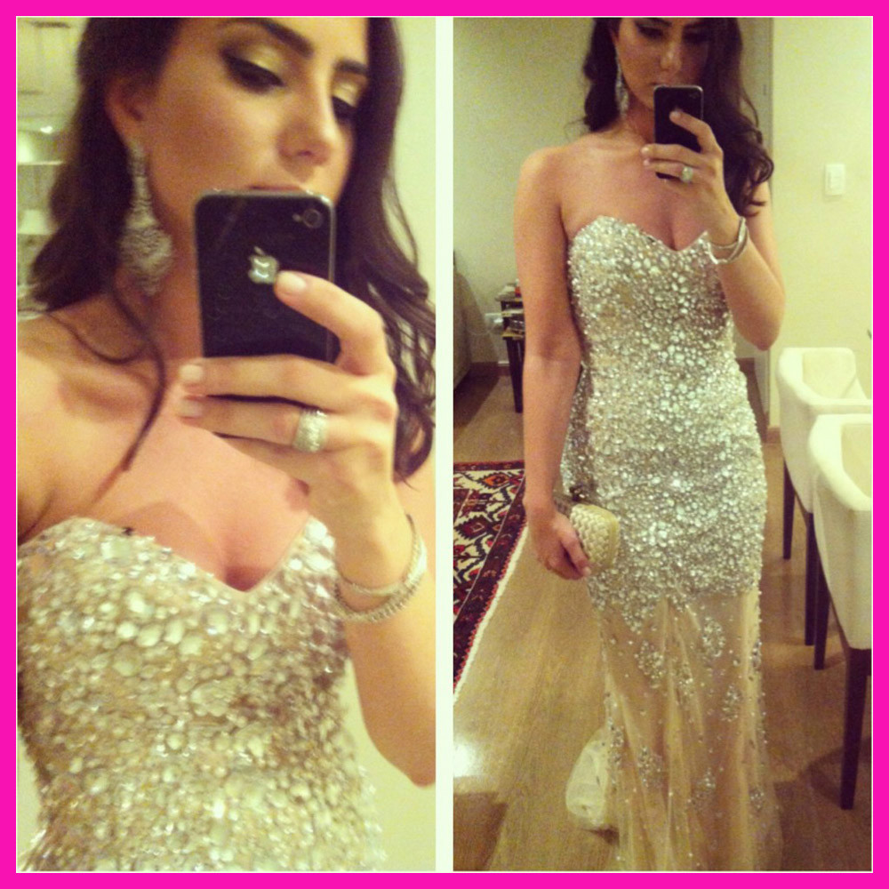 Hotsale! babyonlinedress Real Model Sweetheart Long 2014 Prom Dresses Evening Crystal Gowns Special Occasion Dress Women Custom(China (Mainland))
