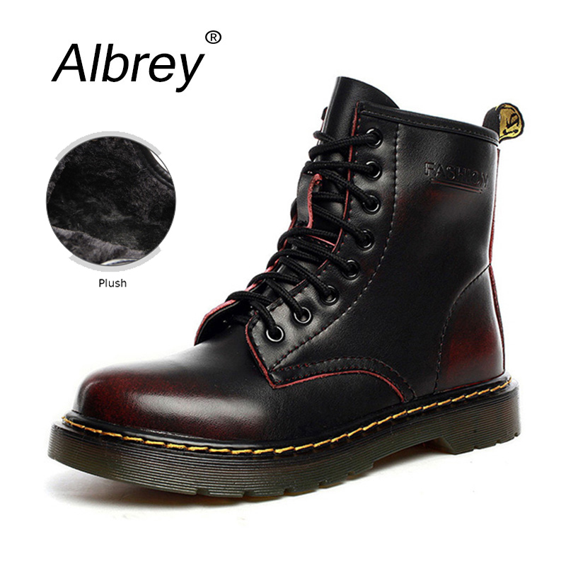 Plus Size 2016 Genuine Leather Winter Ankle Men Boots Martin Motorcycle Boots Punk Platform Women Snow Work Boots(China (Mainland))