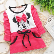 2015 Girls Dress baby girls New Kids bottoming shirt long sleeve t-shirt rose red Autumn Children's Dresses Children's Clothing(China (Mainland))