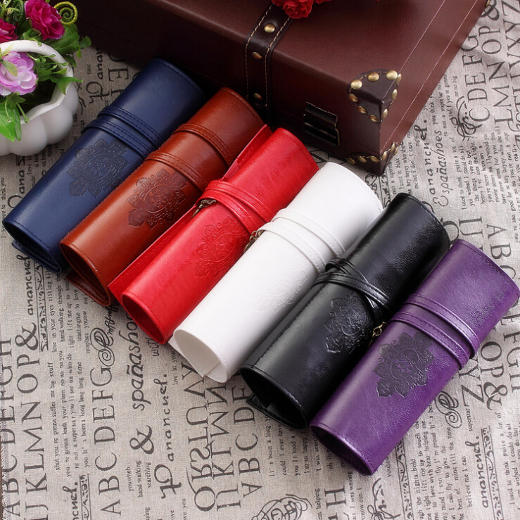Leather Vintage Retro Twilight Saga Pencil Bag Vampire Make up Cosmetic Roll Pencil Case School Supplies Free shipping 133<br><br>Aliexpress