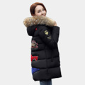 2016 New Womens Celebrity Winter Jacket Thick Warm Down Coat Parka Female Stand Collar Single Breasted Plus Size Long Outerwear