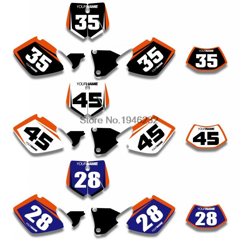 Custom Backgrounds Graphics Sticker & Decals Number Plate Kit KTM SX XC XC-W EXC 2008 2009 2010 2011 - Cnc Motocross Parts store