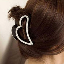 Buy 1Pcs Women Lady Heart Shape Black Crystal Rhinestone Claw Hair Clip Barrette Hairpin Hairwear Clamp Hair Accessories for $1.25 in AliExpress store
