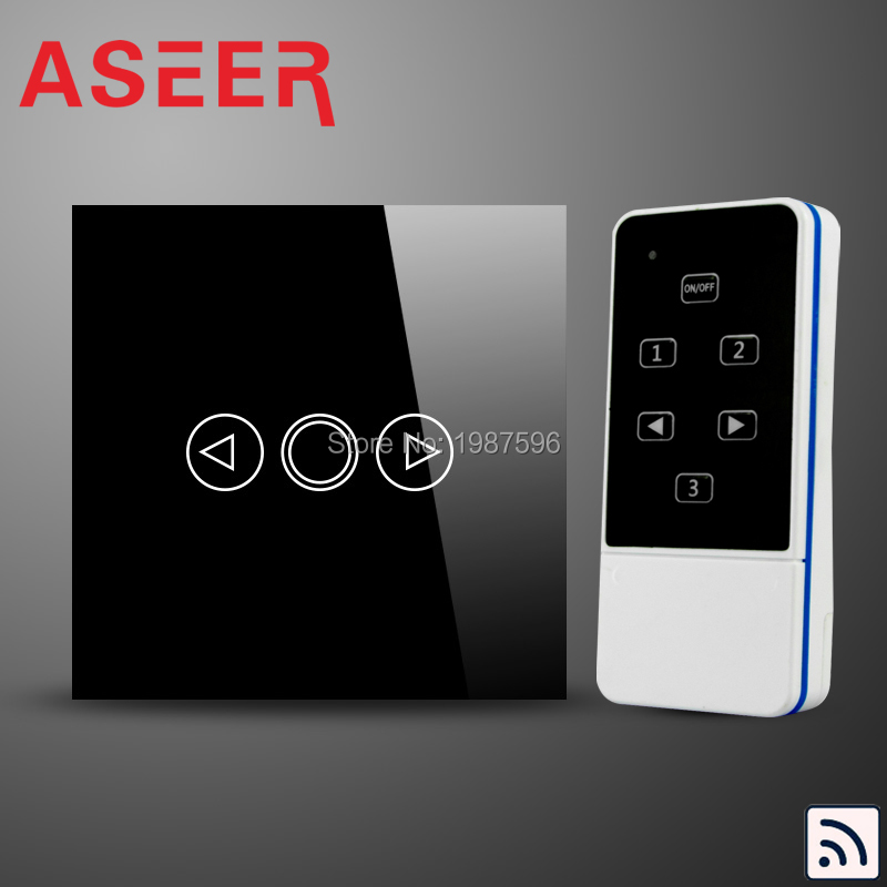 ASEER,EU Standard Crystal Remote Touch Dimmer Switch + LED backlight,AC110-240V,1Gang Glass Tempered Panel Dimmer Light Switch(Hong Kong)