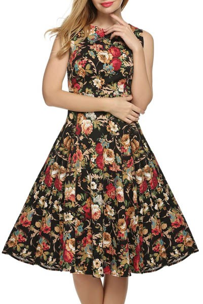 Best 1950s Vintage Swing Dress Round Neck Overall Printed Flower Home Party Dress for Woman L36107-1 (1)