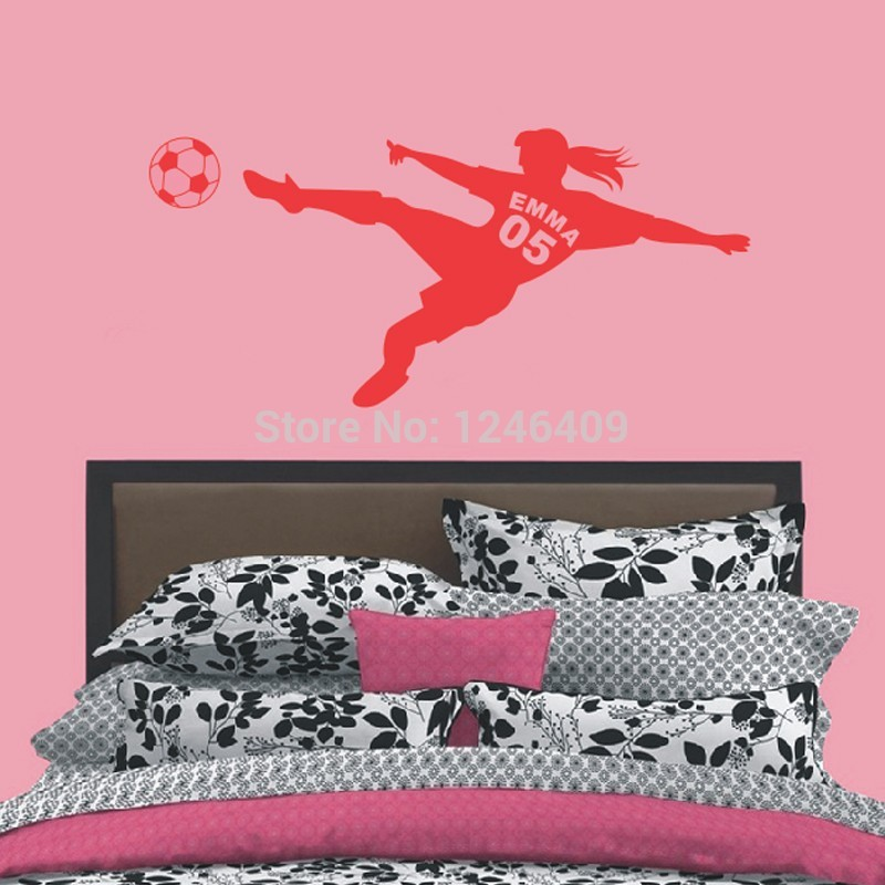 Charming Personalized Name & Number Football Soccer Ball Vinyl Wall Decals Poster Art Wall Stickers for Kids Girls Rooms(China (Mainland))