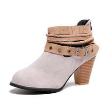 Распродажа; большие размеры 35-43; модная Пряжка для пояса из флока; женская обувь на высоком каблуке; женские осенние ботильоны для отдыха; же...(China)