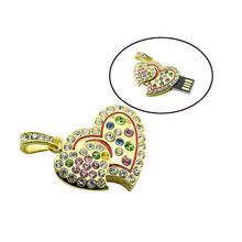 Fashion metal crystal love Heart USB Flash Drive precious stone pen drive special gift pendrive 8GB/16GB diamante memory stick