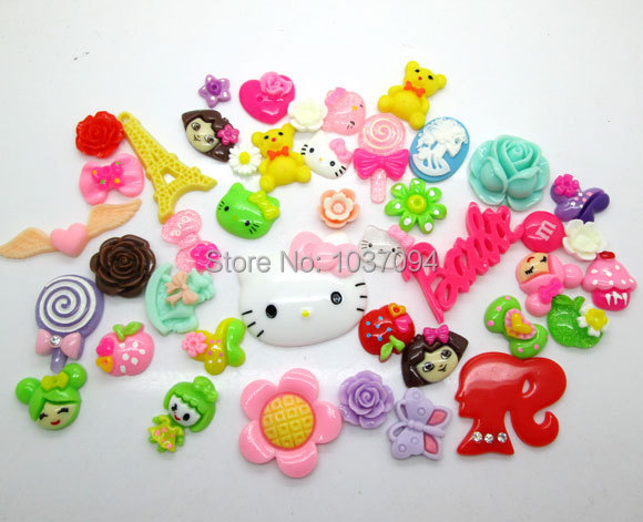 Fashion Popular! 100pcs Resin Sweet Kawaii Deco Cabochon Random Mixed Size 12mm-45mm Wholesale(China (Mainland))