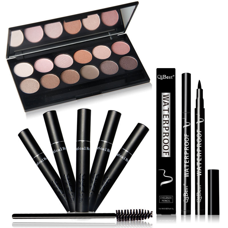Qibest Hot waterproof Eye Makeup set Eyeshadow Palette Eyelashes Brush Mascara Eyeliner Pen Cosmetics Tool With Free Shipping(China (Mainland))
