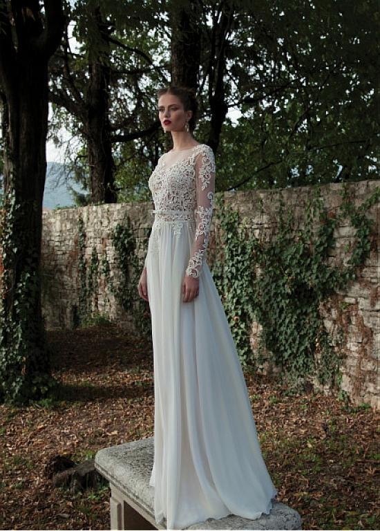 2015 chiffon appliques long sleeves sheath wedding dresses for Backless sheath wedding dresses