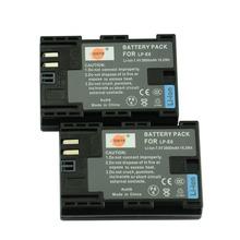 DSTE 2PCS LP-E6 Rechargeable Battery For Canon EOS 5DS R 5D Mark II 5D Mark III  6D 7D 80D EOS 5DS R Camera