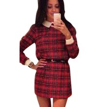 2016 Autumn Women's Long Sleeve Casual Tartan Mini Dress Lapel Collar Plaid Dress PY8