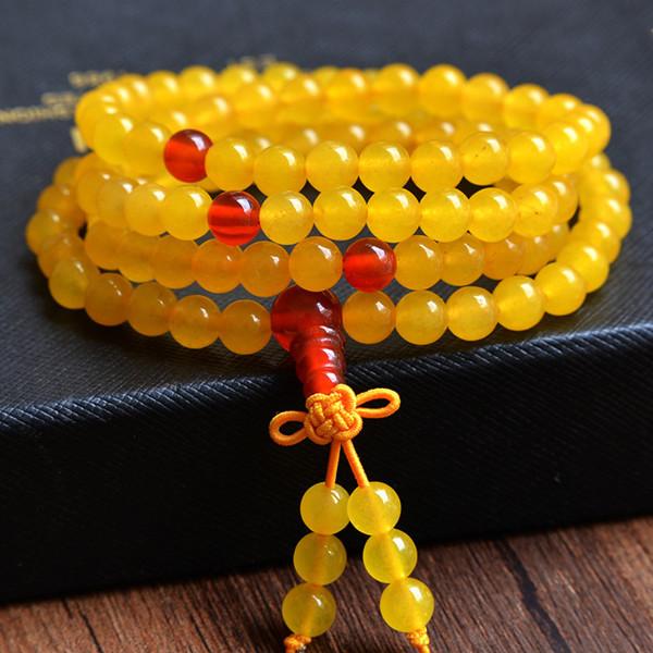 Yellow chalcedony red onyx beads Buddha head beads 6mm hand beaded bracelets for women gem wristband gift for women 0596(China (Mainland))