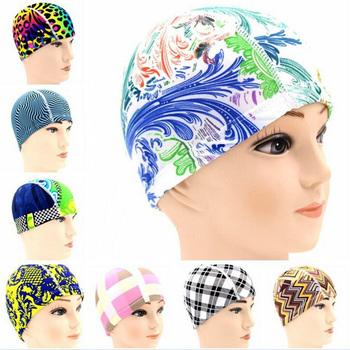 Hat  for Men Women Adults Print Swim Caps Free size Waterproof Polyester Protect Ears Long Hair Sports Swim Pool Swimming Cap