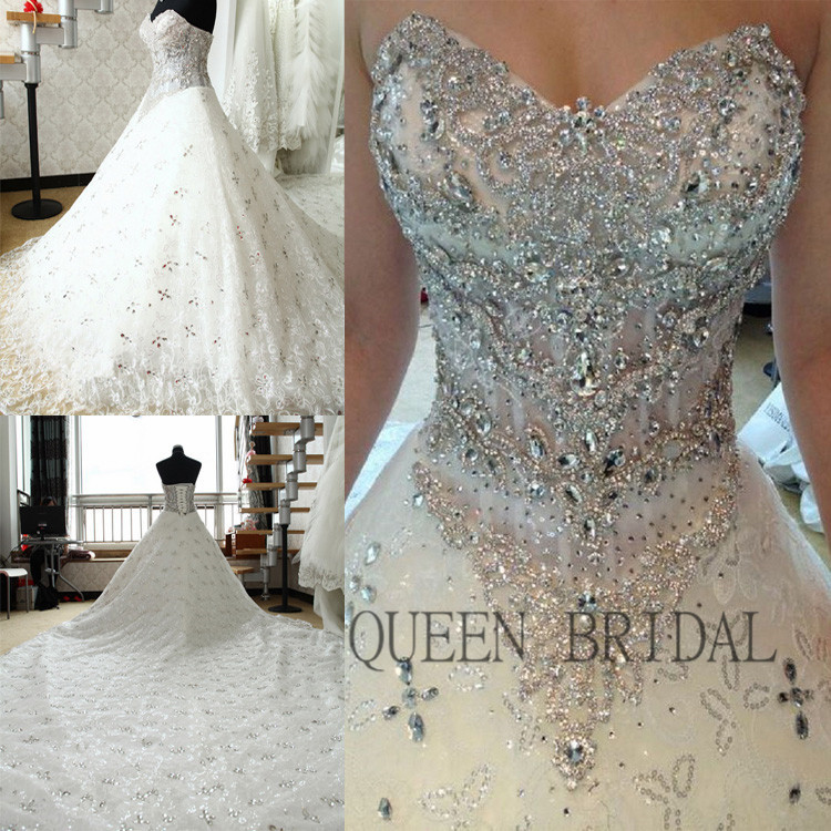 custom heavy crystal beaded wedding dress 2015 bridal