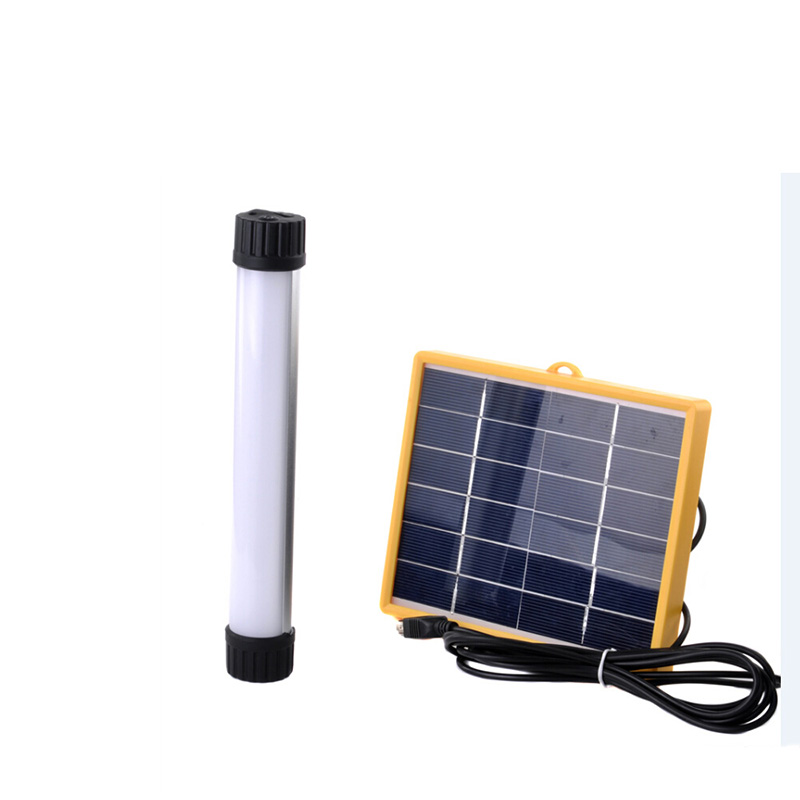 Portable Solar Powered Generator Home Lighting System Lamp Light 3W Solar Panel USB Rechargeable Solar Tube Flashlight Lantern(China (Mainland))