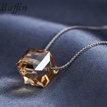 BAFFIN cristales de Swarovski colorido cubo cuentas collar colgantes plata Color cadena collares para mujer boda Chic regalo(China)