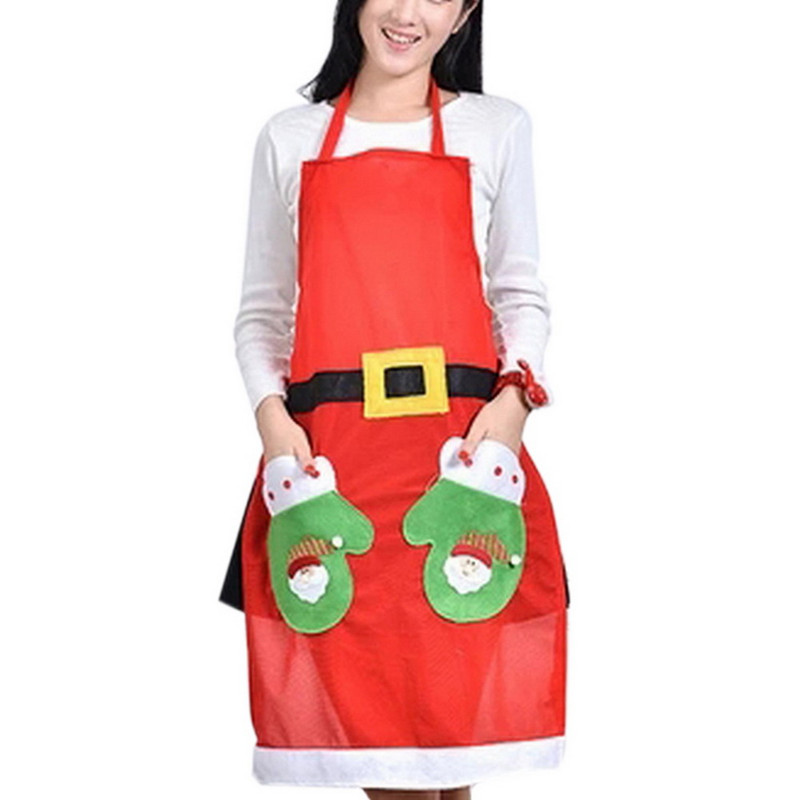 Christmas Decorations Cute Santa Claus Kitchen Restaurant Cooking Aprons With Pocket Gift Red(China (Mainland))