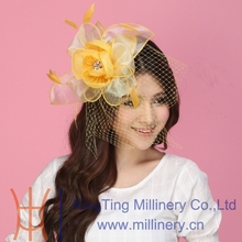 Free Shipping Fashion Women Fascinator Hats Organza Flower Hair Accessory Wedding Hair Accessories Hairdress Veiling Gold Color