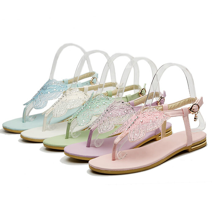 ENMAYER summer Sandals new fashion casual and Rhinestone comfortable flat shoes buckle simple T strap Platform sandals <br><br>Aliexpress