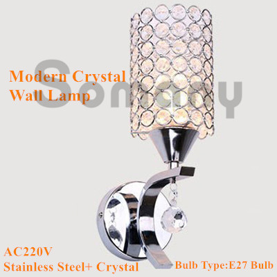 Modern Wall Lamp Stainless Steel K9 Crystal AC220V Cylindrical Warm White/Cool White for Hotel/Corridor Lighting Led Wall Light<br><br>Aliexpress