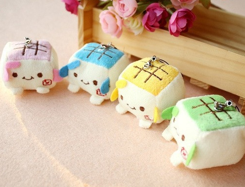 Super Kawaii 4CM 4Colors - Mini Tofu DOLL Plush Stuffed TOY ; Wedding Bouquet Decor DOLL TOY , accessories dolls(China (Mainland))