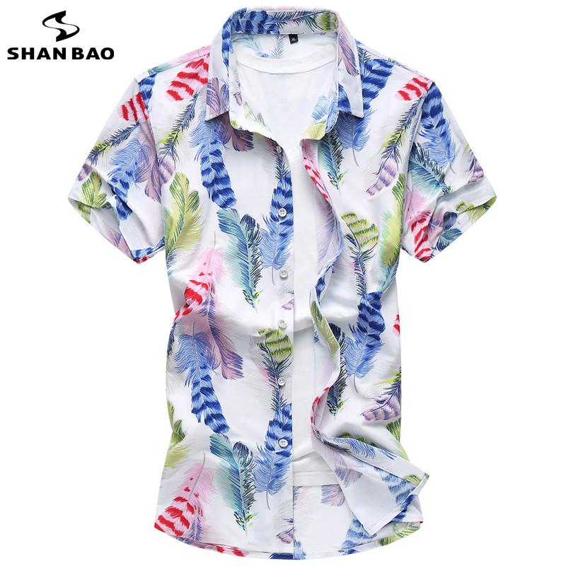 shan bao moda hombre camisa de manga corta de color de alta calidad pluma de impresin