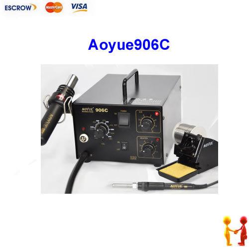 Aoyue906C 2 in 1 desoldering station, Aoyue 906C hot air soldering station. with air pump hot air gun sodering iron(China (Mainland))
