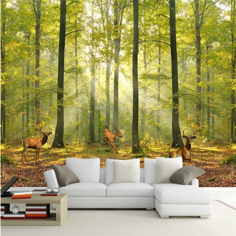 Popular deer wall murals buy cheap deer wall murals lots for Deer mural wallpaper