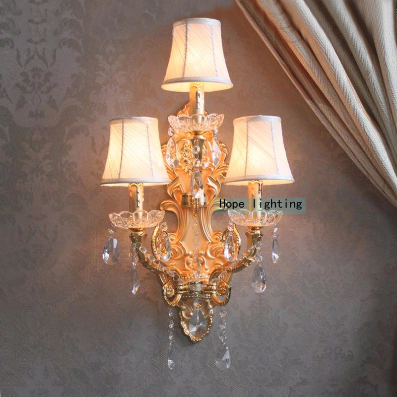Aluminum wall lighting  gold color wall lamp with fabric lampshade hotel wall sconces top grade wall lamp modern<br><br>Aliexpress